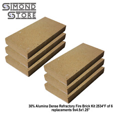 30% Alumina Dense Refractory Fire Brick Kit 2534°F of 6 replacements 9x4.5x1.25