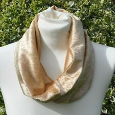 Snood/cowl Scarf stretch crushed velvet pale gold