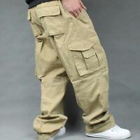 Mens Baggy Loose Pants Casual Overalls Cargo Work Cotton Hot Plus Size Trousers