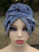 Vintage Women's Blue White Pintuck Hearts Swirls Mid Century Hat 1940's 1950s