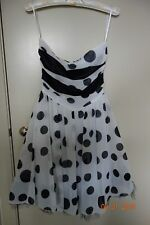 Review Women's Dress White with Black Dots Cocktail Functions Party Size 8