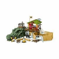 Schleich 42350 Large Croco Jungle Research Ranger Station Playset - Wild Life