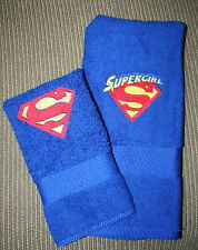 """""""Supergirl"""" Inspired Hand Towel & Cloth Blue NWOT machine embroidered"""