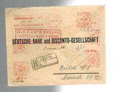 1931 Lodz Poland Bank Meter Registered Cover to Deutsche Bank Berlin Germany