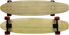 "Moose Bamboo Kicktail Longboard 9"" x 40"" 70mm Kryptonics Red Wheels"