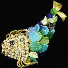 Christian Dior Henkel & Grosse Gold Pave Fish with Multicolour Glass Scales Pin