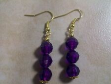 Purple Bead Earrings Dangle Hook New Faceted Acrylic Affordable Fashion Jewelry