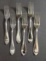"LOT OF 6 1847 ROGERS A1 OVAL THREAD SILVERPLATE FORKS 7.5"" NO MONO (SP-31)"