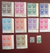 France timbre taxe Gerbes 12 val serie coins datés bloc de 4 neuf sans charnière