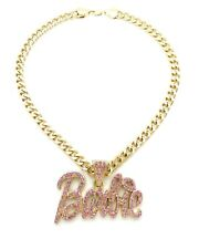 """NEW Pink Barbie Pendant & 9mm 18"""" Cuban Chain Necklace 14k Gold Plated"""