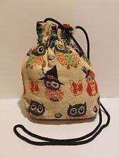 Hand made canvas Owl design draw string shoulder bag