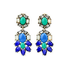 Costume Fashion Earrings Clip Pendant Gold Chandelier Blue Navy Green Vintage J2