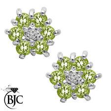 Peridot Cluster Yellow Gold Fine Earrings
