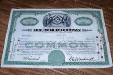 1950 Erie Railroad Company Stock Certificate Shares Vintage RR Train Locomotive