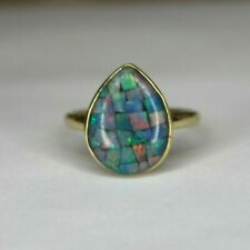 Vintage 9ct yellow gold Opal Doublet ring. Size U 1/2.