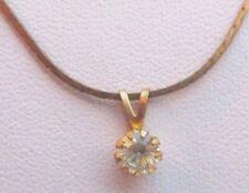 pendentif collier plaqué or bijou vintage 80 solitaire cristal diamant 2471