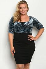 Womens Plus Size Blue Leopard Print Bodycon Dress 2XL Velvet Inspired