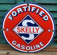 VINTAGE SKELLY GASOLINE PORCELAIN ENAMEL GAS PUMP OIL SERVICE STATION SIGN