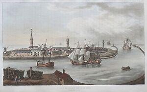 1815 Town & Port of Ostend Belgium Ackermann Antique Aquatint Print