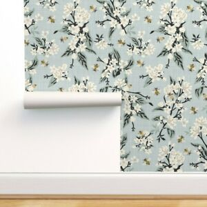 Removable Water-Activated Wallpaper Flowers Bees Texture Large Blue Black Floral