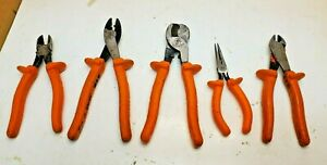 Lot 5 Klein Tools 1000v Double Insulated Electrician tools Pliers Free Shipping