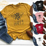 Women Happy Letter Bee Pattern Print Tops Short Sleeve T-Shirt Casual Tees Tops