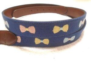 Tommy Bahama Bow Tie Pattern Needlepoint Belt NWT size XL  $98