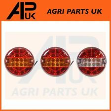 3x 12V LED Rear Round Combination Brake Stop Tail + Reverse Light Lamp Tractor