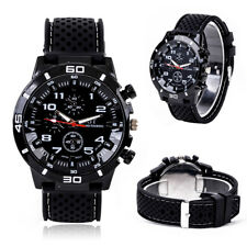 Men`s Fashion Black GT GRAND TOURING SPORTS Quartz Silicon Band Wrist Watch.