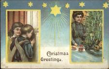 Christmas - Children Peek - German Hun Helmet in View c1910 Postcard