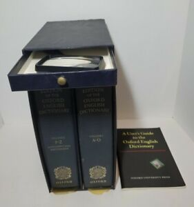 1971 Compact Edition of the Oxford English Dictionary & Magnifying Glass