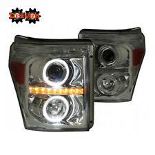 11-16 Ford F250 F350 Super Duty Smoked Tinted Projector Headlight Halo LED DRL