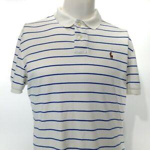 POLO by Ralph Lauren Men's Short Sleeve White Blue Striped Polo Shirt LARGE