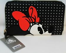 Disney Minnie Mouse Wallet Large Checkbook Size Black Red Ears Polka Dot NEW