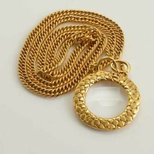 RDC11586 Authentic Chanel Vintage Golden Chain Magnifying Glass Necklace