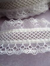 """1 1/2"""" ***ELASTIC - DOUBLE ROW - LACE - STRETCH*** Trim (2 yd)  WHITE"""