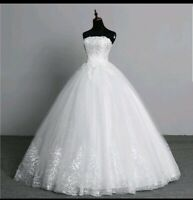 UK ivory Strapless Lace Bridal Gown Sequins A Line Cheap Wedding Dresses Size 12