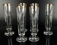 6x Biergläser Biertulpen Bier Glas Set 80er Jahre vintage Goldrand Ähre Motiv