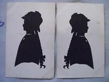 Scherenschnitt Schattenriss Silhouette 2 x original auf Postkarte Mädchen um 191