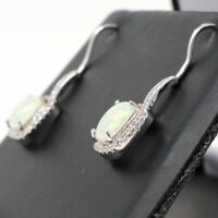 Vintage White Fire Australian Opal Earrings Nickel Free Jewelry 14K White Gold