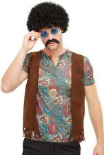 Hippie Lot Homme Multicolore avec Perruque Lunettes Moustache et Collier
