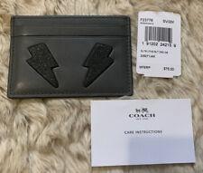 NWT Coach F23776 Black & Grey Glitter Leather Lightning Bolt Flat Card Case $75