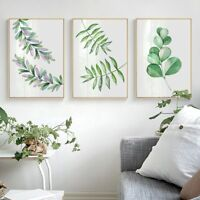 Waltercolor Plant Leaves Canvas Art Poster Print Wall Picture Bedroom Home Decor