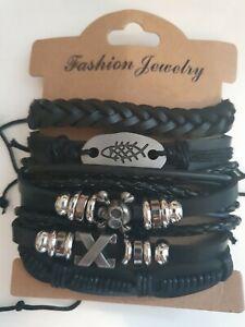 Biker Punk Goth Skull & Bones 6 Piece Hand Made Leather Friendship Bracelet Set