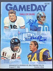Merlin Olsen & Sam Huff Signed 1982 HOF Game Program Vikings vs Colts  BX6
