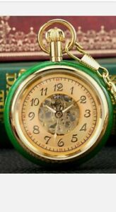 High quality Men's Gold Case with Jade Merchanicle Skeleton Pocket watch Arabic