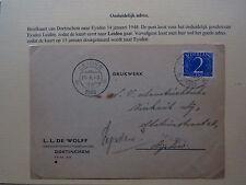 Zwerfbrief Stray Letter Nederland Doetinchem Eysden Leiden Onduidelijk Adres '48