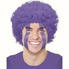 Purple clown wig curly afro hair Fancy dress costume Football