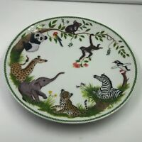 Lynn Chase JUNGLE PARTY Porcelain Children's Plate Animal Graphics 1988
