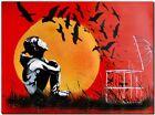 "BANKSY STREET ART CANVAS PRINT release birds 24""X 36"" stencil poster"